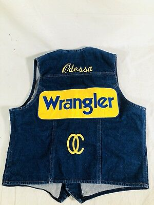 Wrangler Mens Denim Western Rodeo Vest Size Mens Large