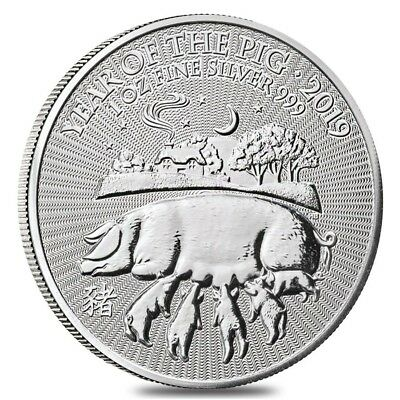 2019 Great Britain 1 oz Silver Year of the Pig Coin .999 Fine BU In Cap