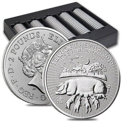 Lot of 100 - 2019 Great Britain 1 oz Silver Year of the Pig Coin .999 Fine BU In