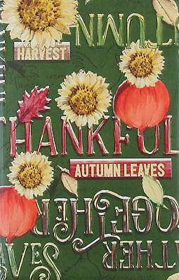 Autumn Sunflowers Pumpkins Words Vinyl Flannel Back Tablecloth Round or Oblong