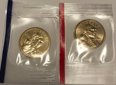 2001 P D Sacagawea Dollars BU in US Mint Cello - 2 Coin Uncirculated Set