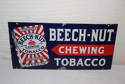 """Vintage 1930's Beech-Nut Chewing Tobacco Gas Station 22"""" Porcelain Metal Sign"""