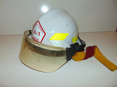 Vintage Super Chieftain Helmet Fire Dept Face Shield LAURENS Greenville SC White