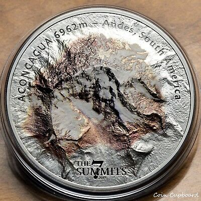 2018 - Cook Island $25 - 5 oz - ACONCAGUA, Andes range - 3rd issue in 7 Summits
