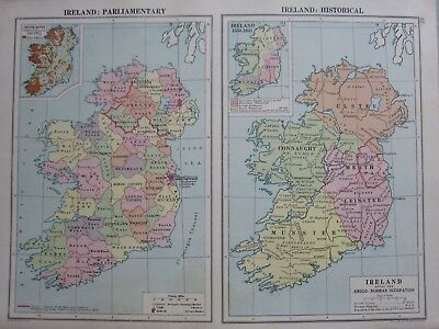 1930 Map ~ Ireland Parliamentary & Historical Irish Bogs Anglo-Norman Occupation