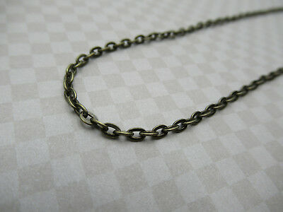 Antiqued Brass Flat Cable Chain - 2X3mm Small Oval Links - Thin Dainty - 1 meter