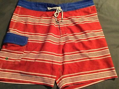 Sperry Top Sider Mens Sailaway Stripe Boardshort SZ 36 Waist Swim Trunk Shorts