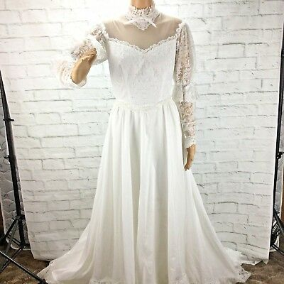 Vintage 70's Union Made Victorian Wedding Dress White Lace Theater Costume