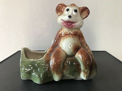Vintage American Bisque Bear Sitting On A Log Planter