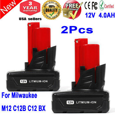 2x 12V XC 4.0Ah Battery For Milwaukee 48-11-2402 M12 Red Lithium 48-11-2401 LOT