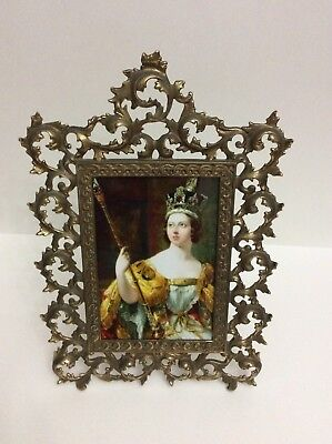 Antique Solid Brass  Bronze Ornate Picture  Photo Large Frame