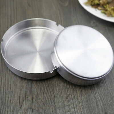 Stainless steel Round Ashtray with Rest Holder Holes Metal Ashtry Cigarette Home