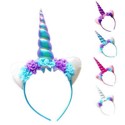 1/4PCS Magical Unicorn Horn Head Party Kids Hair Headband Dress Cosplay Decor US