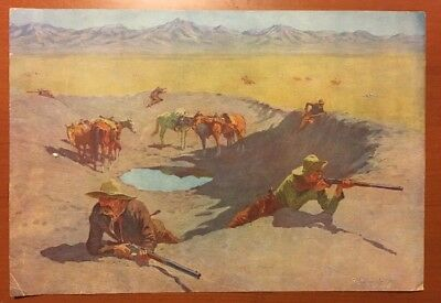 Fight For The Water Hole - Frederic Remington Antique Circa 1908 Wild West Print