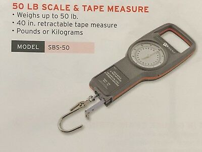 "50LB Fishing Scale w/40"" tape measure-weather proof casing-US Miltary Vet.Seller"