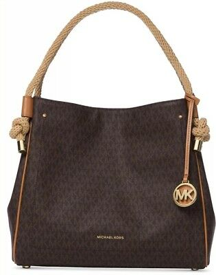 4494bfd8e4 New Michael Kors Isla Large Signature Satchel Gold MK Luxe charm Rope Handle