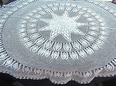 "Vintage Crochet Lace Tablecloth 60"" Round Star Design White Cotton"