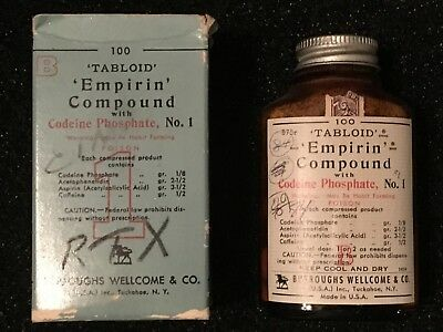 Vintage Apothecary Medicine Bottle With Contents - Empirin Compound