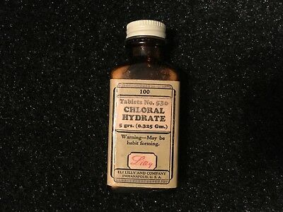 Vintage Apothecary Medicine Bottle With Contents - Chloral Hydrate