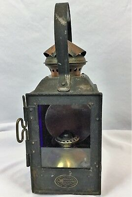 Antique Vintage French Tin & Brass Ship's Lantern Maritime Nautical