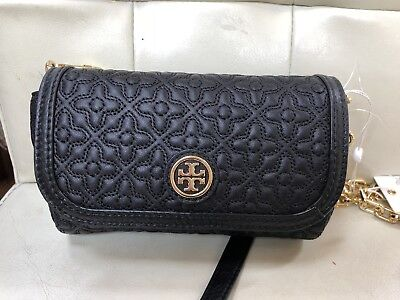 e5fee47b03 Tory Burch Bryant Quilted Leather Small Cross-body Black NWT $250 MSRP Mini  Bag