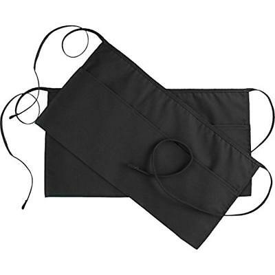Home & Kitchen Features 3 Pockets Waist Apron (Set Of 2, Black, 24 X 12 Inches)