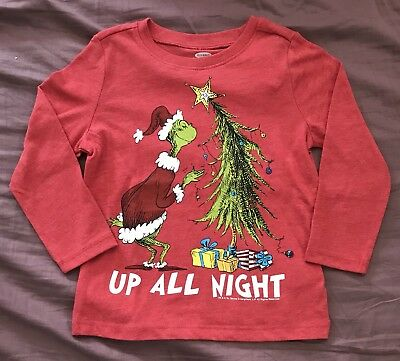 "NEW Old Navy Baby Toddler Boys Long Sleeve Shirt Grinch ""Up All Night"" Christmas"