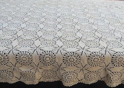 Vintage Crochet Lace Tablecloth Rectangle Floral Medallion 52x78 Ecru Cotton