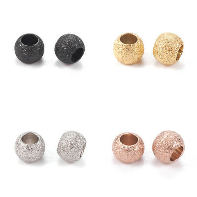 20pcs 304 Stainless Steel Stardust Metal Beads Round Bumpy Loose Spacers 4~8mm