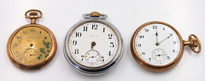Vintage Lot Of 3 Elgin Open Face Pocket Watches 7 And 17 Jewels No Reserve