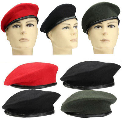49a48277bcb Unisex Military Army Soldier Hat Mens Womens Wool Beret Uniform Casual Warm  Cap