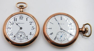 Vintage Lot Of 2 Hampden And Elgin Open Face Pocket Watches 15 And 7 Jewels Nr
