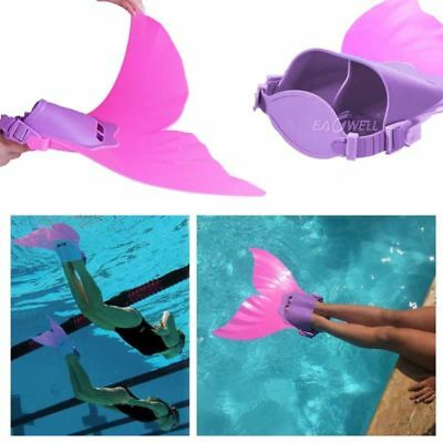 US Kids Girls Fin Mermaid Tail Monofin Swimmable Tail Pool Swimming Flippers Toy