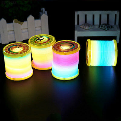 217C Colorful Smiling Face Rainbow Circle Magic Slinky Light Spring Toy Kids