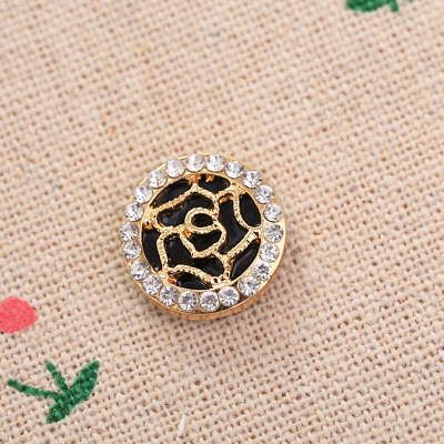 Fashion Cute Gold Rose Diamond Black Round Iphone Key Button Sticker For / Cell