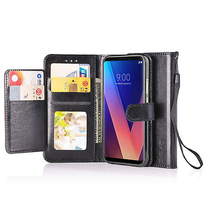 Flip Leather Case 5 Card Slot Stand Wallet Cover Strap For LG Stylo 3 V30