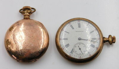 Vintage Lot Of 2 Waltham 15J Hunter And Open Face Wrist Watches No Reserve