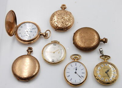 Vintage Lot Of 7 Small Assorted Pocket Watches No Reserve