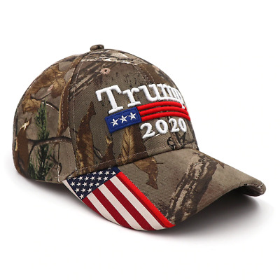 Donald Trump 2020 Cap Mossy Oak camo hat with american flag sewn on visor