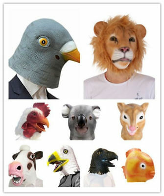 Halloween Adult Funny Cosplay Animal Head Mask Latex ZOO Party Costume Prop Toys
