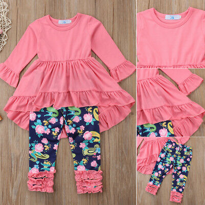 Toddler Baby Girl Clothes Outfits Ruffle Dress Tops+Floral Leggings Set US Stock