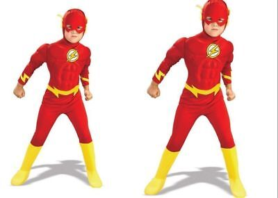 Child The Flash Muscle Chest Outfit Fancy Dress Costume Superheroes Kids Boys AU