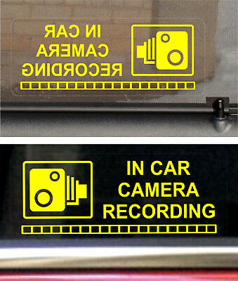 2 REVERSE Warning Stickers Signs CCTV Video Camera Recording Car Vehicle Yellow+