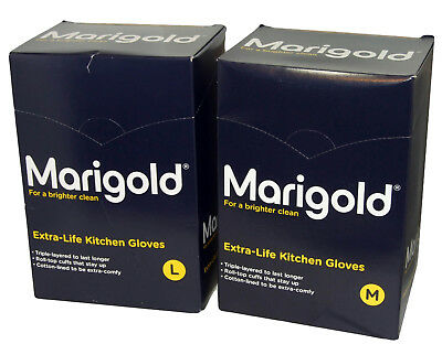 6 Pairs Marigold Kitchen Rubber Gloves Extra Life Triple Layered