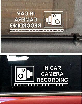 2 REVERSE Warning Stickers CCTV Video Camera Recording Car Vehicle Sign Safety W
