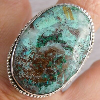 Superb XLGranulation Ring US 10 SILVERSARI Solid 925 Stg Silver + CHRYSOCOLLA