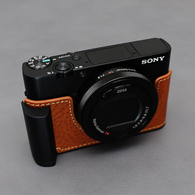 Lim's Genuine Leather Camera Half Case + Metal Grip  For SONY RX100 BROWN
