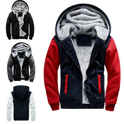 New Men Winter Thick Plus Velvet Zipper Sweatshirts Hooded Jacket Size S-5XL