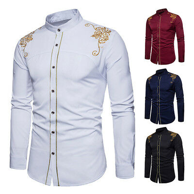 c5c2c6b40 Mens Hipster Fit Long Sleeve Button Embroidery Down Dress Shirt Full Tops  Blouse