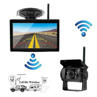 """2.4GHz Wireless Reverse Backup Night Vision Camera+5"""" Monitor For Truck Bus RV"""